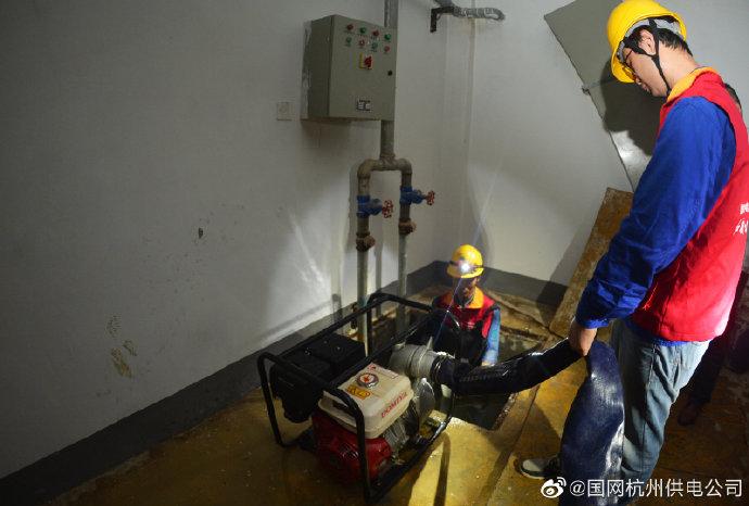 西溪雅苑社区5号配电房抗涝排水工作